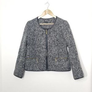 Ness   Black and White Tweed Zip Blazer Jacket L
